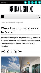 Bridal Guide – September-October 2019 Little White Book – Win night all-inclusive escape for two to the Grand Residences Riviera Cancun in Puerto Morelos Mexico