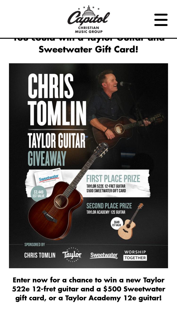 Capitol Christian Music Group – Chris Tomlin Taylor Guitar G