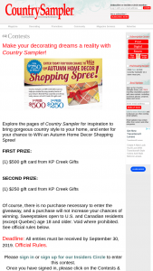 Country Sampler – 2019 Autumn Home Decor Shopping Spree Giveaway – Win First Prize $500 KP Creek Gifts gift card Second Prize (1) Second Prize $250 KP Creek Gifts gift card