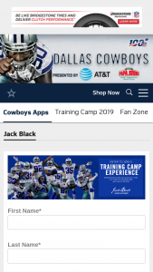 Dallas Cowboys – Jack Black Training Experience Sweepstakes