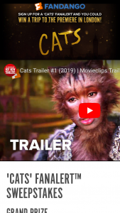 "Fandango – Cats Fanalert – Win ""Prize"") will be awarded in this Sweepstakes to one (1) Grand Prize Winner"