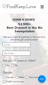 Findkeeplove – $3500 Best Dressed In The Biz – Win consisting of all the following    $300 VISA Gift Card from Finimize Cash/Retail Value $300.