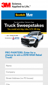 3m Company – Scotchblue Painter's Tape – Win 1500 REBEL TRUCK
