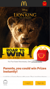 Mcdonald's – Roar To Win Game – Win a $25 Disney Gift Card eGift
