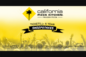 Nestlé California Pizza Kitchen – Concert Tickets For A Year Sweeptakes – Win $3000 in Live Nation E-gift cards