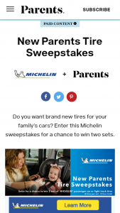 Parents Magazine – New Parents Tire – Win is one (1) Grand Prize available to be won
