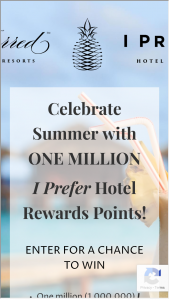 Preferred Hotel Group – Celebrate Summer With A Million Points Sweepstakes
