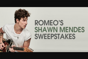 Premiere Networks – Romeo's Shawn Mendes – Win three day/two night trip for Winner and one guest to see Shawn Mendes in concert