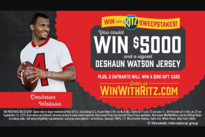 Ritz Crisps & Thins – Win With Ritz – Win $5000 (awarded as a check payable to winner) and (1) Deshaun Watson signed Jersey