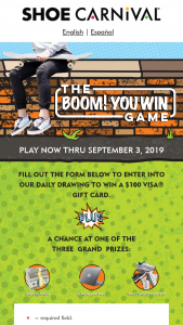 Shoe Carnival – Boom You Win Game Sweepstakes