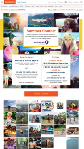 Shutterfly – Summer Contest – Win the following 180000 HawaiianMiles $500 Shutterfly Gift Certificate (1) Second Place Prize for $300 Shutterfly Gift Certificate