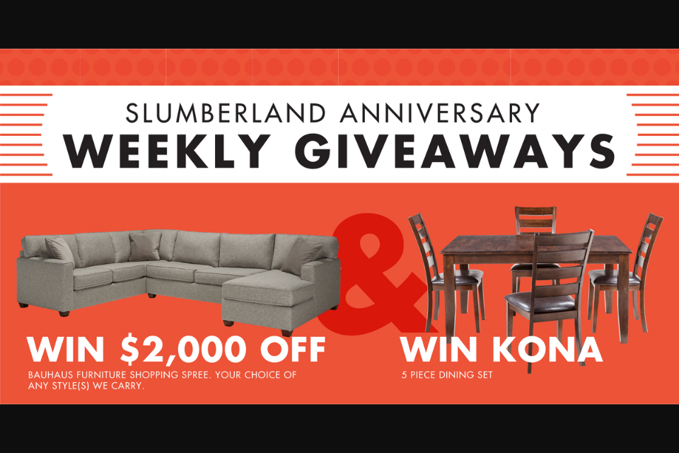 Slumberland Furniture Anniversary Weekly Giveaway Sweepsta