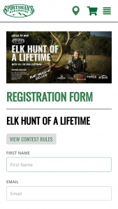 Sportsman's Warehouse – Elk Hunt Of A Lifetime – Win THE FOLLOWING A 5-day 5-night trip for the winner over the age of 21 to Hill Ranches Colorado