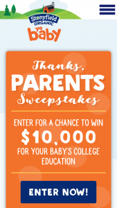 Stonyfield – Thanks Parents – Win $10000.00 in the form of a check made out to the winner