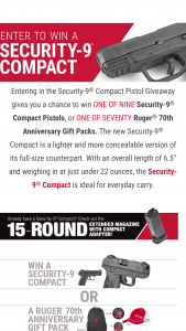 Sturm Ruger & Co – Security-9 Compact Pistol Giveaway – Win one Ruger Security-9 Compact Pistol
