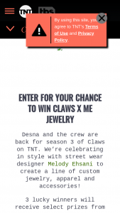 Tnt Turner Entertainment Networks – Claws Season 3 – Win Melody Eshani X Claws Capsule Collection items including two pairs of earrings