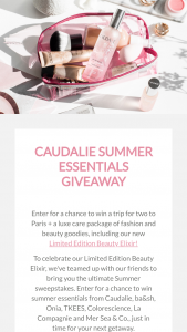 Caudalie – Summer – Win Two business class