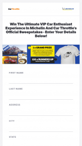 Circlesix Media – Michelin And Car Throttle Ultimate Vip Car Enthusiast Experience Sweepstakes