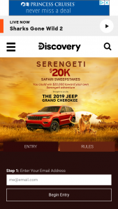 "Discovery Communications – Serengeti $20k Safari – Win the following (the ""Grand Prize"") $20000 presented in the form of a check"