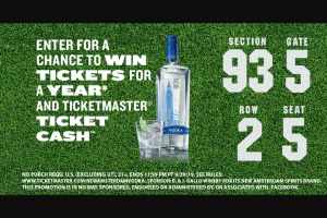 "E & J Gallo Winery – New Amsterdam Vodka Tickets For A Year – Win in Ticketmaster® Gift Cards (""Gift Card"")."