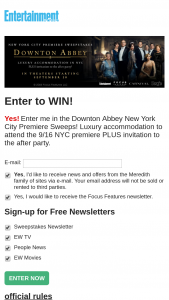 Entertainment Weekly – Downton Abbey New York City Premiere Sweepstakes