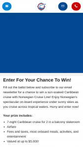 Expedia Cruiseshipcenters – Everywhere Under The Sun – Win one (1) 7-night cruise for two (2) persons to the Caribbean on one of Norwegian Cruise Line's ships
