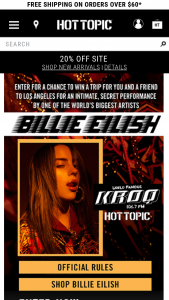 Hot Topic – Billie Eilish – Win a trip for two to Los Angeles for an intimate show by Billie Eilish