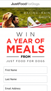 Justfoodfordogs – Enzo Movie – Win a one year's supply of the winner's choice of Just Food For Dogs meals delivered monthly over the course of one year up to a total value of $5000 of product including shipping and handling