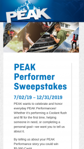 Old World Industries – Peak Performer Sweepstakes