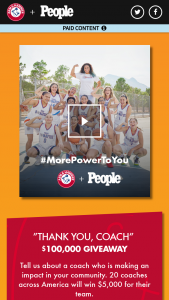 People Magazine – Thank You Coach Presented By Arm & Hammer – Win be awarded to the Organization/School in the form of a check