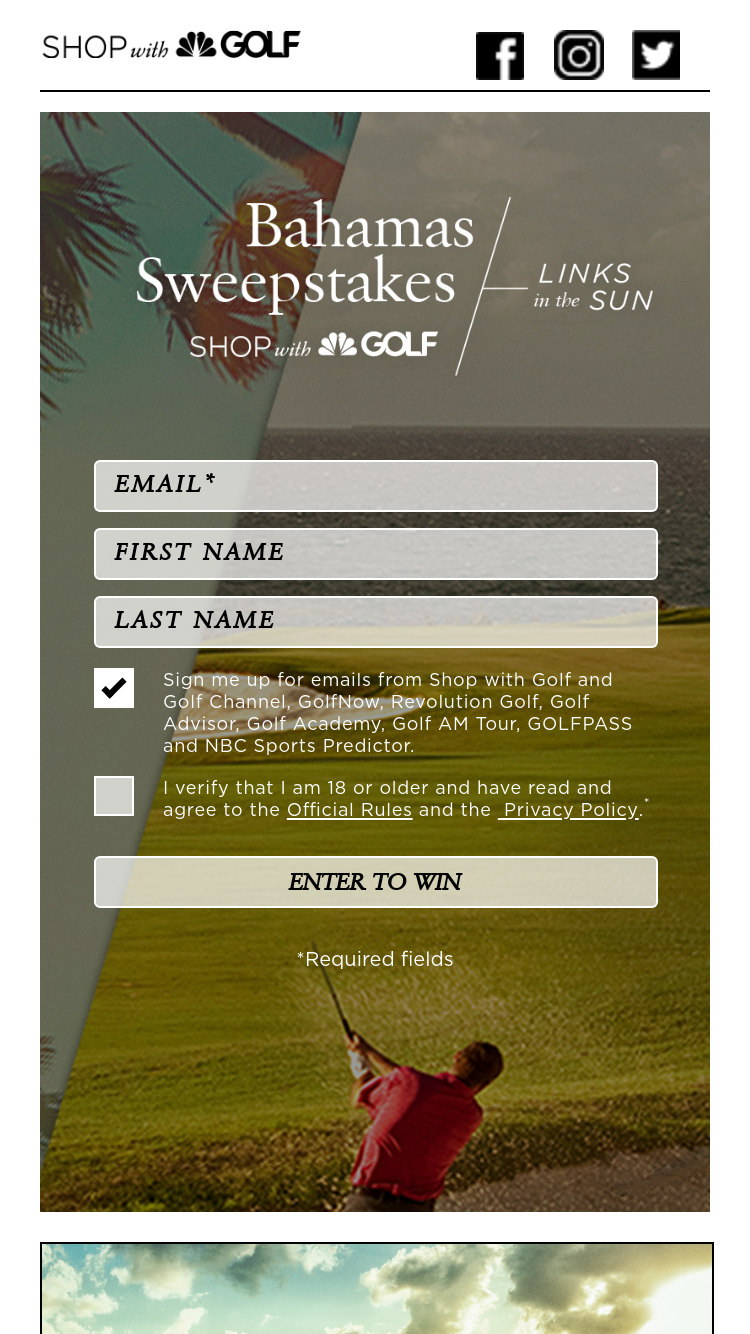 Shop With Golf – Bahamas – Win will consist of one (1