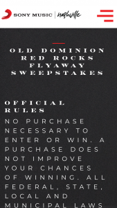 Sony Music – Old Dominion Red Rocks Flyaway – Win two airfare roundtrip airline tickets (economy coach class) for Winner and one guest to travel to a Colorado area airport