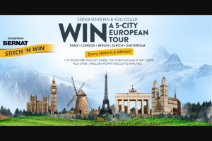 """Spinrite – Bernat Stitch 'n Win – Win Prize (1) There will be one (1) Grand Prize (the """"Grand Prize"""") available to be won consisting of a trip for two (2) on a fourteen (14) day European trip"""