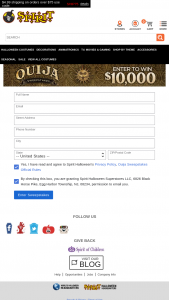 Spirit Halloween – Quija – Win $10000 cash in the form of a check