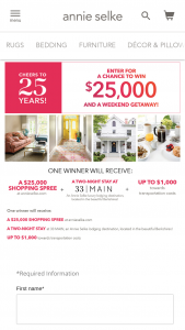 Annie Selke/fresh American – Monthly 25th Annie-Versary $25000 Giveaway – Win One $25000 shopping spree via https //annieselkecom $25000 in Annie Selke product only