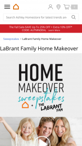 Ashley Homestore – Labrant Family Home Makeover – Win $4000 in Ashley HomeStore full-retail product