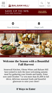Balsam Hill – Stonewall Kitchen And Olema Wines – Win award the following prize package  Balsam Hill product prizing valued at ($646)?