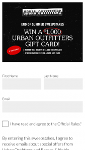 Barnes & Noble College Booksellers – End Of Summer – Win one $1000 Urban Outfitters gift card and four $250 Urban Outfitters gift cards with an estimated retail value of $2000.