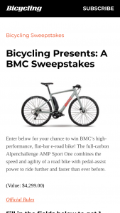 Bicycling – A Bmc – Win a BMC Alpenchallenge AMP SPORT ONE (ARV $4299).