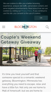 Bloomington Convention & Visitors Bureau – Couples Weekend Giveaway – Win awarded  • Two-night stay at Hyatt Regency Bloomington Minneapolis