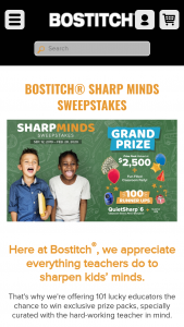 Bostitch – Sharp Minds – Win Prize Pack (ARV $2500) and One-Hundred (100) First Prizes – a Bostitch Classroom Electric Sharpener (ARV $25/each).