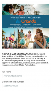 "Buena Vista Television – Orlando This Fall – Win $4999 US dollars (""USD"")."