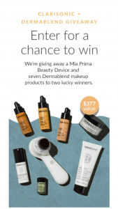 Clarisonic – X Dermablend – Win one Clarisonic Mia Prima Cleansing Device and Sonic Foundation Brush
