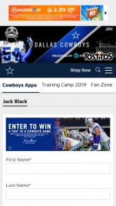 Dallas Cowboys – Jack Black Training Camp Experience Sweepstakes