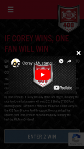 Dover International Speedway And Drydene – If Corey Wins – Win One 2019 Shelby GT350 Ford Mustang Coupe