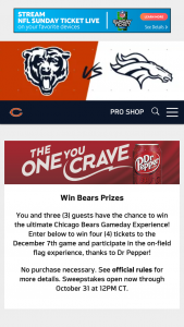 Dr Pepper Chicago Bears – Game Day Experience – Win the following prizes Four tickets to the December 5 2019 Chicago Bears vs Dallas Cowboys game