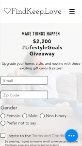Findkeeplove – #lifestylegoals Sweepstakes
