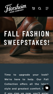 Florsheim Shoes – Fw19 Fall Fashion Sweepstaskes – Win card valid at wwwflorsheimcom