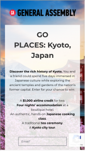 General Assembly – Go Places Japan 2019 – Win A $1000 travel credit (ARV $1000).