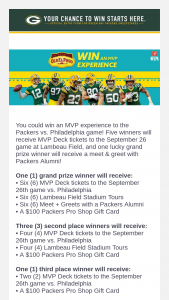 Green Bay Packers – 2019 Mvp Experience Sweepstakes